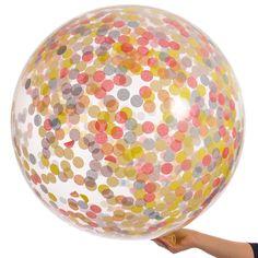Giant Rainbow Confetti Balloon - Pastel Balloons - Bubblegum Balloons