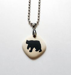 Fashion in black and white FREE SHIPPING on all products http://robinharley.net Mens Necklace Black Bear Jewelry Woodland Theme – Robin Harley