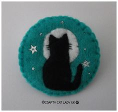 Felt Cat and Moon brooch pin Cat gift Handmade felt brooch Felt Christmas Decorations, Felt Christmas Ornaments, Christmas Cats, Felt Embroidery, Felt Applique, Felt Brooch, Brooch Pin, Felt Gifts, Felt Cat