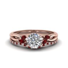 Delicate Petal Diamond Accent Bridal Set Nature Inspired Jewelry with Red Ruby in 18K Rose Gold exclusively styled by Fascinating Diamonds