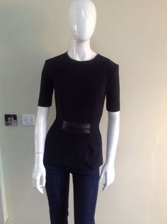 Dion Lee Black Peplum Top With Leather Trim Size UK8