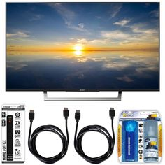 "Sony XBR-49X800D - 49"" Class 4K HDR Ultra HD TV w/ Essential Accessory Bundle includes TV, Screen Cleaning Kit, 6 Outlet Power Strip with Dual USB Ports and 2 HDMI Cables Deal"