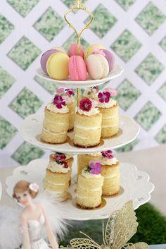 Mini Stacked Cakes + Macarons from a Magical Secret Garden Birthday Party via Kara's Party Ideas | KarasPartyIdeas.com (6)