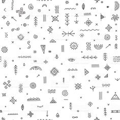 Vector seamless pattern with ethnic tribal boho trendy symbols and ornaments. Can be printed and used as wrapping paper, wallpaper, textile, fabric, etc. Ethnisches Tattoo, 12 Tattoos, Boho Tattoos, Doodle Tattoo, Mini Tattoos, Finger Tattoos, Tattoo Drawings, Body Art Tattoos, Small Tattoos