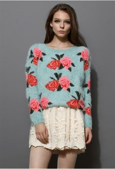 Floral Print Fluffy Sweater in Blue
