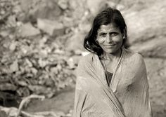 Indian Mature Woman Wrapped In A Scarf With A Little Smile, Madurai, India