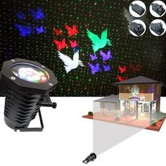 12W 10 Patterns+ Red Green Star Laser Projector Remote Stage Light Outdoor Christmas Party Decor