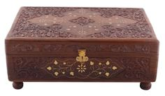 """Bulk Wholesale Brown Jewelry Box in Rosewood - 11.9"""" Handmade Keepsake Box / Bangle Box with Intricate Floral Motif Carving & Brass Inlay Work – Antique-Look Accessory Organizers from India"""