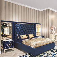 This colour scheme of royal blue and gold is elegant, simple, yet decadent with a touch of stunning. Find this luxury bedroom furniture and more on www.imperialluxury.co.uk