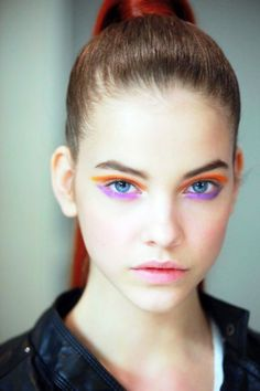 Barbara Palvin with beautiful colorful neon makeup
