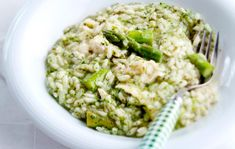 Asparagus-goat cheese risotto, Finnish Food, June 2016