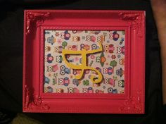 Owl baby shower art! Scrapbook paper, wooden letter, spray paint, and frame all from Michaels!