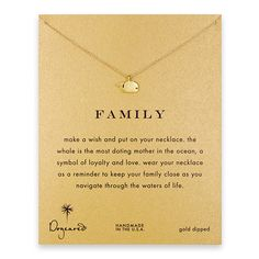 "family whale necklace, gold dipped {""the whale is the most doting mother in the ocean, a symbol of loyalty and love. ""}"