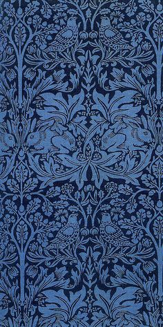 Brother Rabbit textile design by William Morris, 1882 / motif / végétal / bleu / noir Textiles, Textile Patterns, Print Patterns, Damask Patterns, William Morris, Art Nouveau, Fabric Design, Pattern Design, Stoff Design