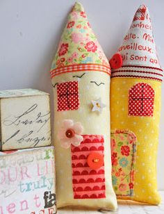 Some little stuffed fabric houses, made from scraps....such a satisfying way to de stash the scrap basket....and if i was to choose a co...