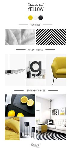 Yellow color trend inspiration mood board for interior design boards yellow Interior color trend - yellow - Mood board Monday Interior Design Yellow, Loft Interior, Interior Concept, Color Interior, Interior Paint, Interior Design Colleges, Interior Design Boards, Interior Design Kitchen, Presentation Board Design
