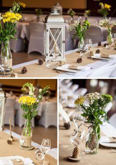 lanterne centre de table, jute et coeur écorce Déco et fleurs by FéeLicité Mariage rustique champêtre en Savoie