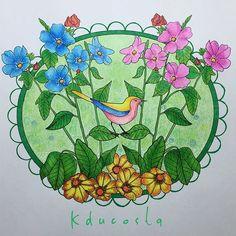 "Do livro ""Nature Designs"" da @jeneanmorrison  #nature #designs #naturedesign #adultcoloringbook #adultcoloring #becreative #coloringbook #coloring #drawing #flowers #pinkandblue #jeneanmorrison #doodle #mindfulness #zentangle #livrodecolorir #bird #pattern"