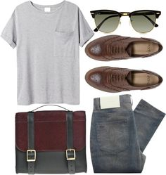 fadedd jeans, gray pocket tee, dark brown leather oxfords