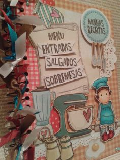 """Minhas receitas"", caderno de receitas. Filofax, Diy Birthday, Birthday Gifts, Scrapbook Recipe Book, Altered Books, Bookbinding, Scrapbooks, Party Time, Watercolor Paintings"