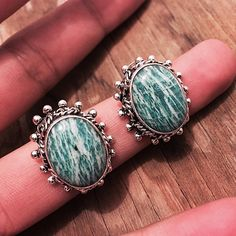 """Clearance-Sterling Silver & Amazonite Earrings Stamped """"925 Mexico"""". Authentic Amazonite. Stone has natural inclusions and small cracks. Hence the clearance price. Final price  Sterling silver is an alloy of silver containing 92.5% by mass of silver and 7.5% by mass of other metals, usually copper. The sterling silver standard has a minimum millesimal fineness of 925.  All my jewelry is solid sterling silver. I do not plate.   Hand crafted in Taxco, Mexico.  Will ship within 2 days of order…"""