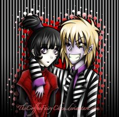 BeetleJuice And Lydia Colored by TheCoffeeFairyChan.deviantart.com on @deviantART