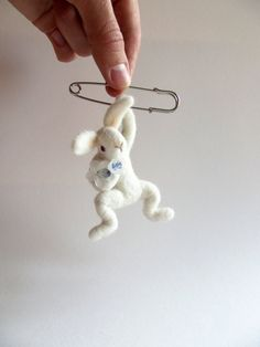 White Hanging Bunny with flower Felted Animal от ShishLOOKdesign