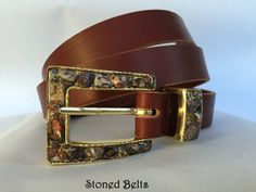 Gold Belt Buckle with Women's brown leather belt. Leopardskin gemstones make this a WOW ladies belt!