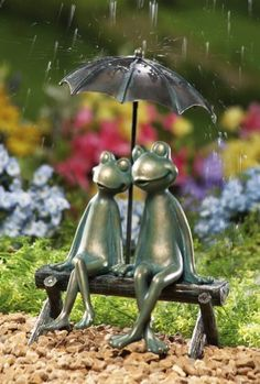 Rainy Day Frog Couple Garden Figurine Statue By Collections Etc by Collections.