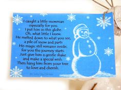 Melted Snowman Christmas Ornament and Poem. $10.00, via Etsy.