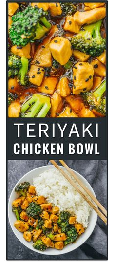 This teriyaki chicken bowl with broccoli and rice is a very fast stir-fry recipe for two, with an easy homemade teriyaki sauce. marinade, grilled teriyaki chicken, japanese, slow cooker, rice bowl, teriyaki beef bowl, crock pot, baked, weight watchers, he
