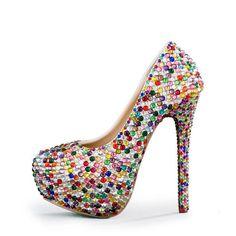 Muilti color rhinestone party shoes woman high heel round toe bridal shoes  women s plus size Pumps size 416993323af3