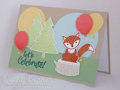 Here for you card using Stampin Up Foxy Friends stamp & punch bundle, Balloon Celebration & Confetti Celebration stamps. 2016-17 Annual Catalogue. Card by Di Barnes #colourmehappy