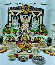 Varalakshmi Vratham 2019 honours the most popular Goddess Maha Lakshmi. Varalakshmi Puja or homam on this day means abundant wealth is sure to come your way. Diy Diwali Decorations, Backdrop Decorations, Indian Wedding Decorations, Festival Decorations, Flower Decorations, Silver Pooja Items, Pooja Room Door Design, Color Combinations For Clothes, Small Balcony Decor