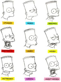 The Simpsons Facial Expression SheetsHey guys! I found these facial expression sheets of Homer and Bart Simpson by Bill Morrison that I thought you might enjoy. Simpsons Drawings, Simpsons Tattoo, Simpsons Art, Disney Drawings, Cartoon Drawings, Cartoon Art, Easy Drawings, Pixar Concept Art, Desenhos Halloween