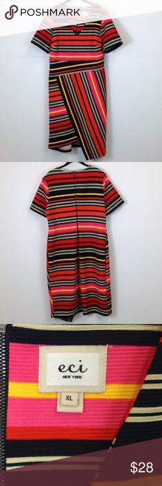 "Eci New York multi color striped dress size XL Eci New York multi color striped dress  Size-X Large Bust-21"" Waist-19"" Length-41"" ECI Dresses Midi"