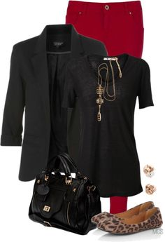 """""""Red, black, leopard, and gold"""" by mclaires ❤ liked on Polyvore"""