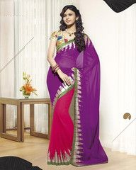 Pink and purple colour Georgette material designer saree
