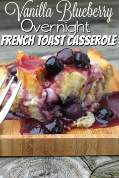 Looking for a tasty and easy recipe? Try an overnight french toast casserole. Ma… Looking for a tasty and easy recipe? Try an overnight french toast casserole. Make it ahead of time let it sit in the fridge and then bake and done! Blueberry French Toast Casserole, Overnight Blueberry French Toast, French Toast Bake, Stuffed French Toast Casserole, Overnight French Toast Casserole, Crockpot French Toast, Brioche French Toast, Breakfast Dishes, Breakfast Recipes