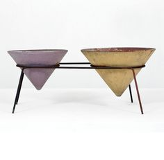 Franco Campo and Carlo Graffi; Enameled Metal and Glazed Earthenware Planter for Home, 1950s.