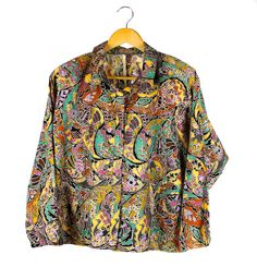 Vintage Long Sleeve Shirt Colourful Paisley-esque Mosaic Print by FannyAdamsVC on Etsy ♥