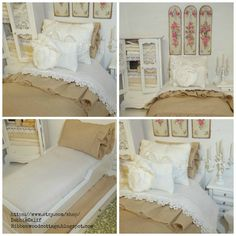Dollhouse Shabby Trundle Bed with Bedding and by DebbieCalif
