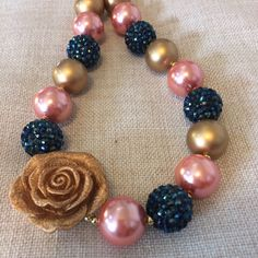 Beautiful coral, navy blue and gold bubblegum bead necklace. Perfect accessory for your little girls! Also so cute for photo shoots.