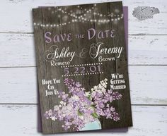 Rustic Save the Date Postcard, Country Wedding Save the Date Card, Printable Wedding Save the Date, Purple Lilacs Mason Jar & String Lights by X3designs