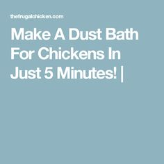 Make A Dust Bath For Chickens In Just 5 Minutes! |