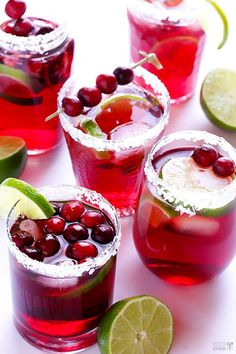 Easy Cranberry Margaritas - Ingredients: 1 1/2 cups cranberry juice cocktail, 3/4 cup lime juice (fresh, if possible), 3/4 cup tequila, 1/2 cup orange-flavored liqueur, Cointreau or Triple Sec, Ice Directions:Stir all ingredients together until blended. Serve over ice in sugar- or salt-rimmed glasses, garnished with fresh cranberries and lime wedges if desired.  Yield: About 3 cups