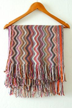MISSONI SCARF Large Wrap Poncho Sparkle Foulard Wave Large Fringe. $185.00, via Etsy.