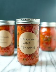 Rotel tomatoes are canned tomatoes with a little hint of heat. A Southern favorite, the spice comes from green chiles that have been fire-roasted, diced and stirred into the simmering tomatoes. Rotel tomatoes are a vital ingredient in queso and make a del Preserving Tomatoes, Preserving Food, Canning Tomatoes, Freezing Tomatoes, Canning Pears, Canning Vegetables, Garden Tomatoes, Growing Tomatoes, Do It Yourself Food