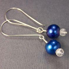 Items similar to Blue Pearl Earrings & Crystal Quartz Gemstone Bridesmaid Set Cobalt Blue Dangle Earrings Wedding Jewellry Ample Goddess on Etsy Belle Blue Dress, Crystal Earrings, Dangle Earrings, Blue Pearl, Cobalt Blue, Quartz Crystal, Dangles, Bridesmaid, Gemstones