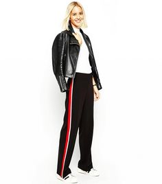 595c92546abf ASOS Wide-Leg Pants With Side Stripe Wide Pants